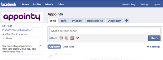 Appointy's facebook page